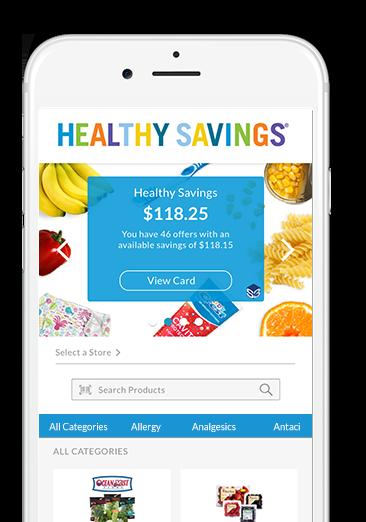 Healthy Savings mobile app screen