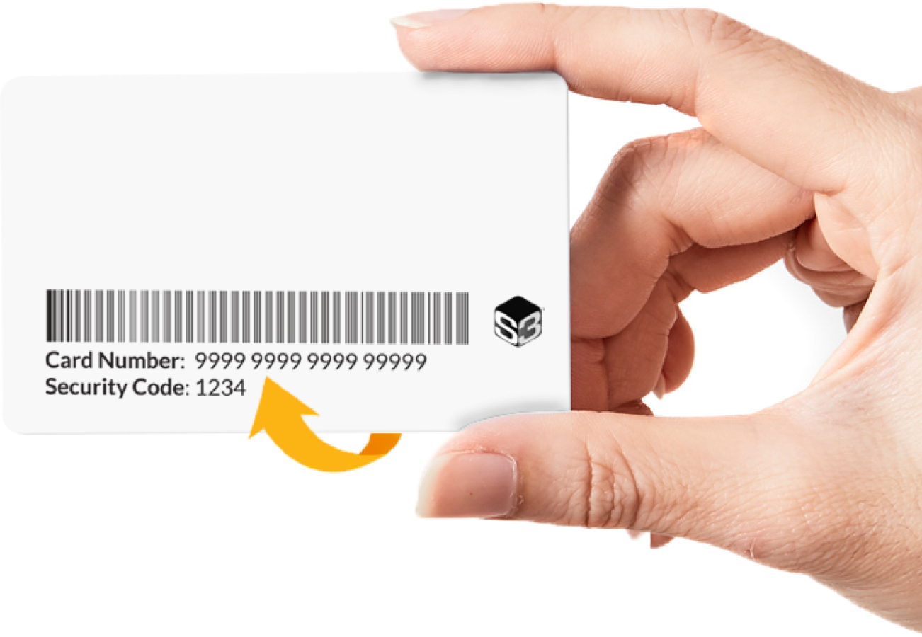 Hand holding Healthy Savings card with arrow pointing to card number